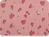 Cotton print for children, penguins, red, 155cm