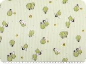 Cotton print for children, penguins, yellow-green, 155cm