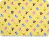 Cotton print for children, ducks, yellow-multicolour, 155cm