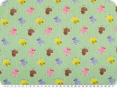 Cotton print for children, ducks, green-multicolour, 155cm