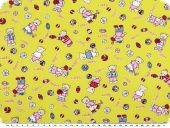Cotton print for children, 'sport-bears', yellow-red, 155cm