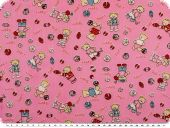 Cotton print for children, 'sport-bears', rose-red, 155cm