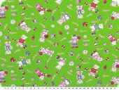 Cotton print for children, 'sport-bears', green-red, 155cm