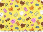 Cotton print for children, cars and kitten, yellow, 155cm
