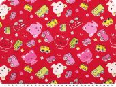 Cotton print for children, cars and kitten, red, 155cm