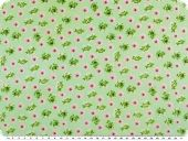 Cotton print for children,  flowers, light green, 155c