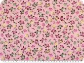 Cotton print for children,  flowers, rose pink, 155cm