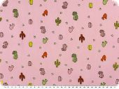 Cotton print for children,  cacti, rose pink, 155-160cm
