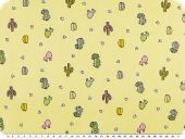 Cotton print for children,  cacti, yellow, 155-160cm