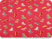 Cotton print for children,  small dinos, pink, 155cm