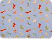 Cotton print for children,  small dinos, blue, 155cm