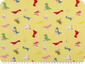 Cotton print for children,  small dinos, yellow, 155cm