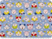Cotton print for children, dog faces, blue, 155cm
