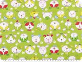 Cotton print for children, dog faces, yellow green, 155cm