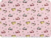 Cotton print for children, unicorns, rose pink, 155cm