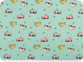 Cotton print for children, unicorns, turquoise, 155cm