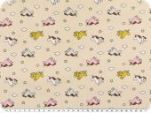 Cotton print for children, unicorns, apricot orange, 155cm