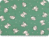 Cotton jersey, children fabric, elephants, green , 150-155cm