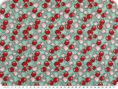 Children fabric, cotton, apples, turquoise-red, 145cm