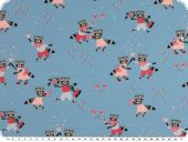 Cotton-Jersey for children, bears, sky blue, 150-155cm