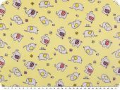 Children fabric, cotton, small elephants, pale yellow, 160cm