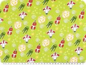 Children fabric, cotton, space ships, yellow green, 160cm