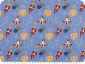 Children fabric, cotton, space ships, light blue, 160cm