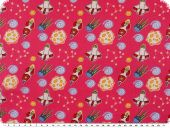 Children fabric, cotton, space ships, pink, 160cm