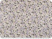 Children fabric, cotton, flowers, light grey-lavender, 160cm