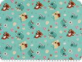 Children fabric, cotton, koalas,turquoise-brown, 160cm