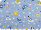 Children fabric, cotton, frogs, light blue-yellow, 160cm