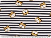 Cotton jersey, children fabric,stripes with tiger navy-white