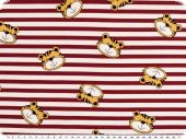 Cotton jersey, children fabric,stripes with tiger red-white