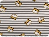 Cotton jersey, children fabric,stripes with tiger grey-white