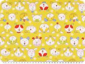 Cotton print for children, dog faces, yellow, 155cm