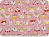 Cotton print for children, dog faces, rose pink, 155cm