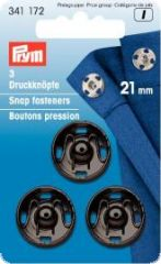 Snap fasteners, brass, 21mm, black, 3 pair