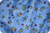 Children fabric, playing stickmen, light blue, 140cm
