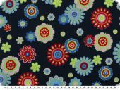 Cotton print flowers, navy, ca. 140cm
