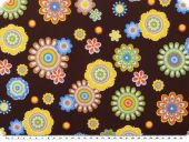 Cotton print flowers, brown, ca. 140cm