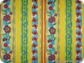 Cotton print, multicoloured with flowers, light blue, 140cm