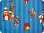 Leftover,Nice cotton print,Knights&Castels,blue,ca.220x140cm