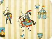 Leftover cotton print, Knights and Castels, beige, 140x65cm