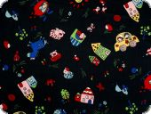 Nice children fabric, black-multicolor, 140cm