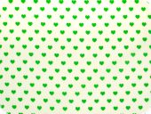 Cotton print, little hearts, green on white, 140cm