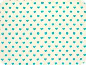 Cotton print, little hearts, turquoise on white, 140cm