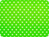 Cotton print, little hearts, white on green, 140cm
