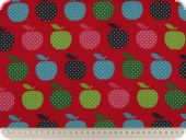 Children fabric, apples, red-multicolour, 140cm