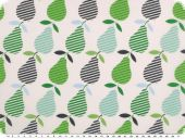 Cotton print, pears,white-multicolour, 140cm