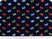 Children fabric, planes, navy-multicolour, 140cm